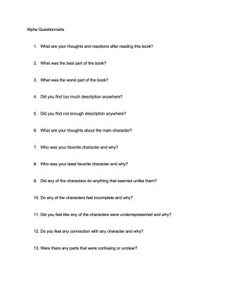 Alpha Questionnaire